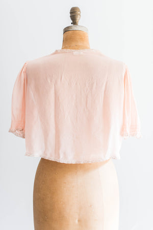 [SOLD] Peach Silk Chiffon Bed Jacket