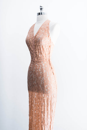[SOLD] Peach Floral Lace Plunging Bias Gown