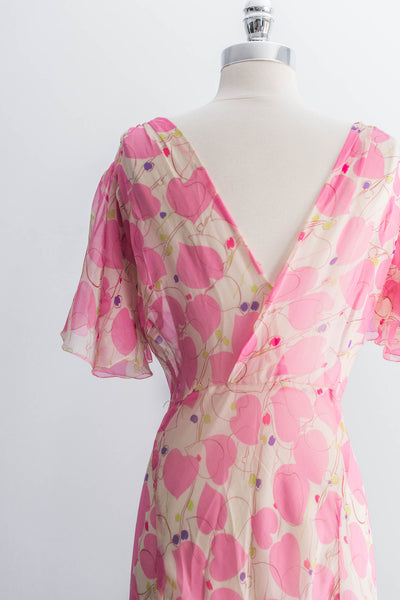 [SOLD] Silk Printed Bias-Cut Gown