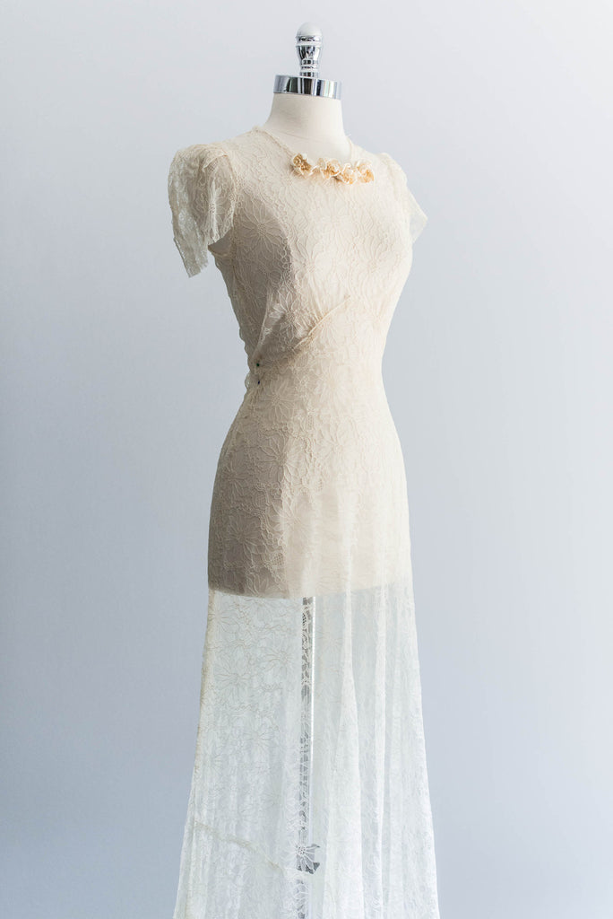 RESERVED Trained Silk Lace Bias Cut Wedding Dress ...