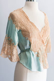 [SOLD] Mint Blue Silk Lace Bed Jacket