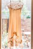 [SOLD] Peach Silk Satin Lace Slip