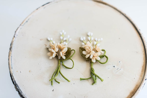 [SOLD] Antique Wax Boutonnieres (Pair)
