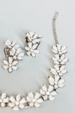 1980's White Floral Necklace and Clip Earrings