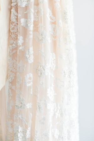 [SOLD] Beaded Blush Lace Robe/Peignoir