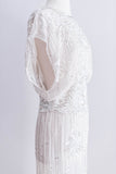 [SOLD] 1980s Silver Beaded Bloussant Gown