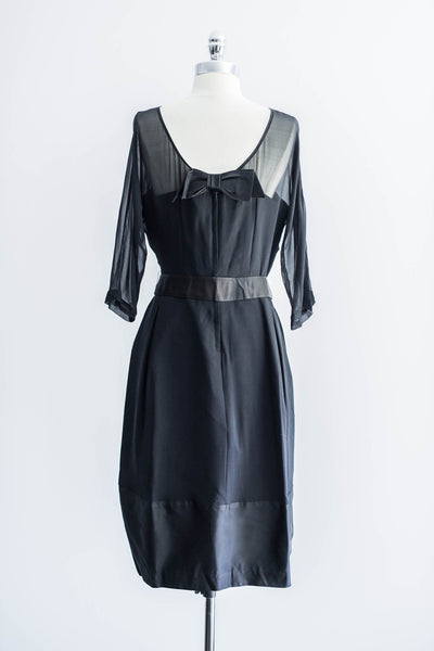 [SOLD] Pure Silk Black Illusion Cocktail Dress