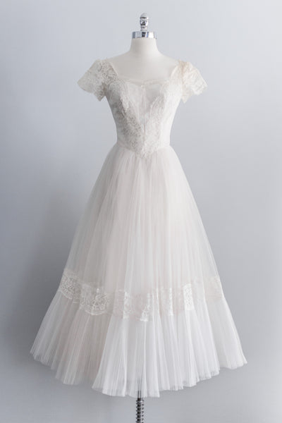 [SOLD] 1950's Tulle Ankle-Length Dress -XS