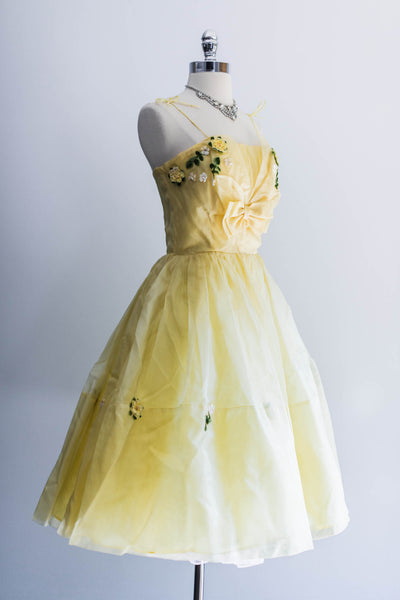 Yellow Silk Taffetta Party Dress - XS