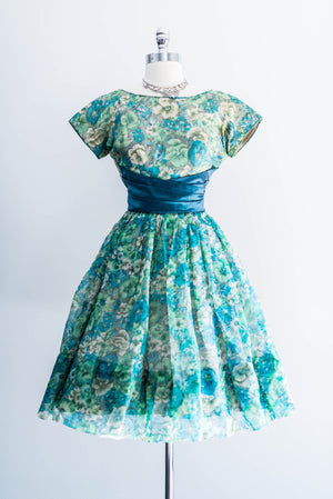 [SOLD] Vintage Green Silk Floral Dress
