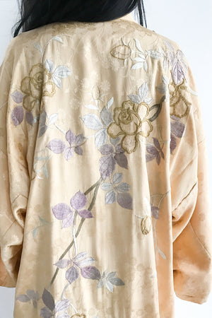 1920s Silk Embroidered Peach Robe/Kimono - One Size