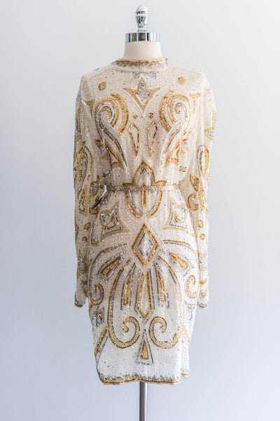 1980s Silk Beaded Cream and Gold Jacket