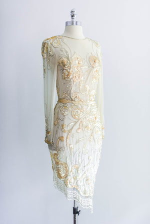 [SOLD] Graduated-Hem Cream Beaded Dress
