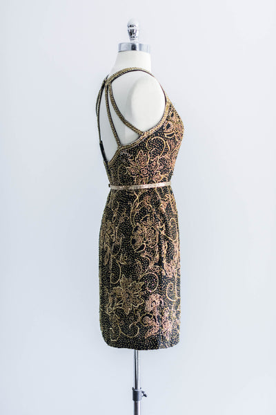 [SOLD] 1980s Black Silk Gold Beaded Dress - XS/S