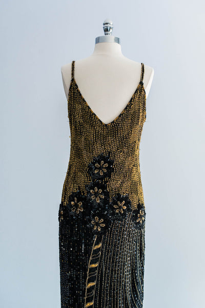[SOLD] Black Silk Gold Beaded Flapper-Inspired Dress