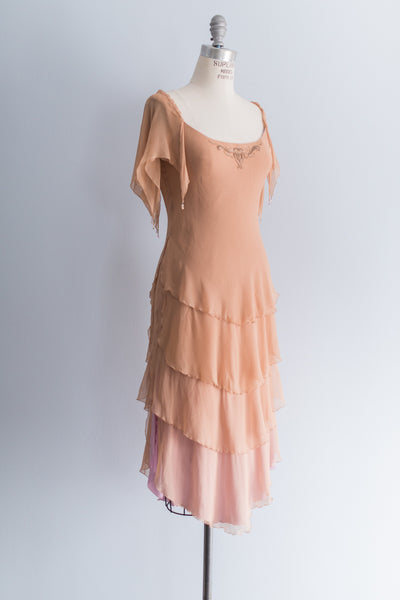 [SOLD] Flapper Inspired Silk Chiffon Tiered Dress
