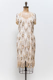 1980s Gold and Cream Silk Dress - S/M