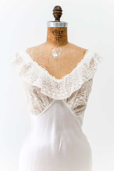 1930s Satin Slip with Lace Bodice - XS/S