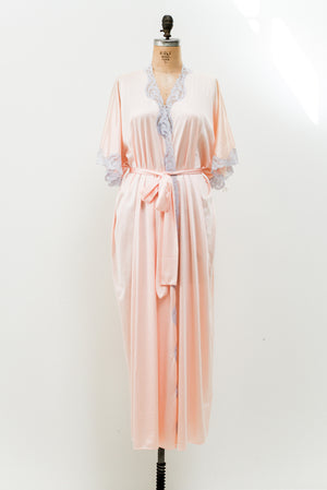 1980s Light Pink Satin Dressing Robe - One Size