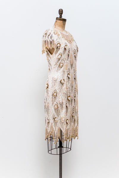 1980s Gold and Cream Silk Dress - M