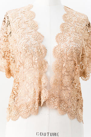 1930s Silk Lace Crochet Jacket - S/M