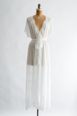 Long Chiffon Robe with Flutter Sleeves - One Size
