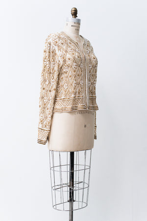 1980s Ivory and Gold Beaded Jacket - S/M
