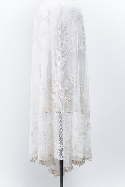 Antique Edwardian Silk and Tulle Lace Skirt -  S