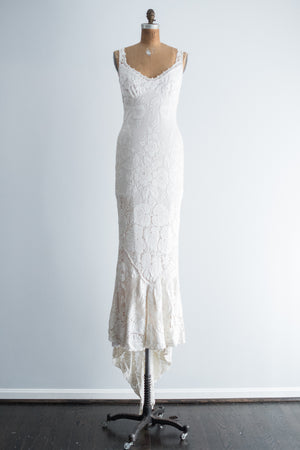 1970s Bias Cut Crochet Gown - S