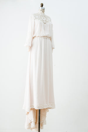 1970s Blouson Chiffon Wedding Gown - S