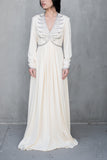 1960s Jersey Empire Beaded Gown - M
