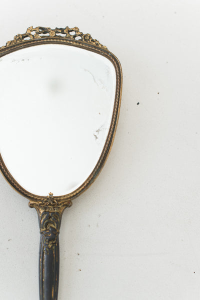 Antique Gilded Mirror with Trillium Flower