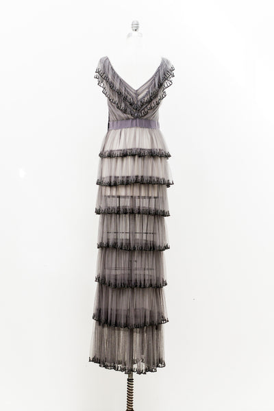 J. Mendel Gray Tulle Tiered Gown - M