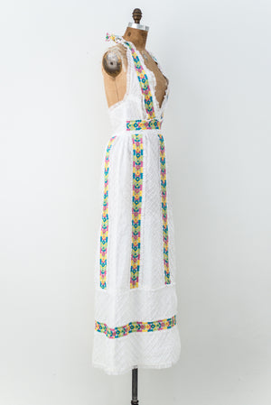 1970s White Embroidered Cotton Halter Dress - S