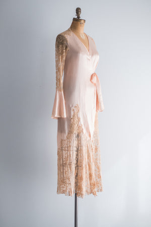1930s Silk Peach Wrap Dress/Robe - S/M