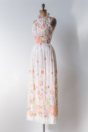 RESERVED Vintage Floral Print Halter Neck Dress - S