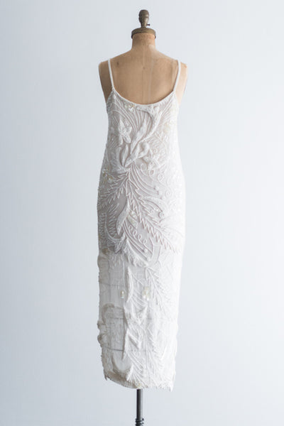 1980s Ivory Moon and Stars Beaded Dress - S/M