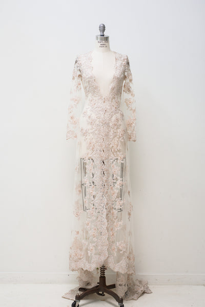 RENTAL Ecru Beaded Robe - S