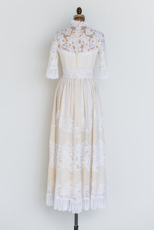 1960s Cotton and Lace Dress - S