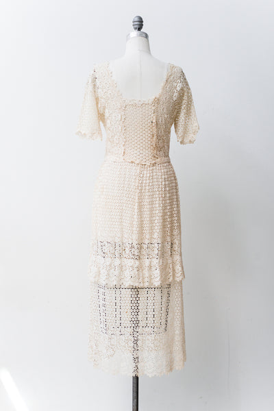 Edwardian Embroidered Lace Lawn Dress - S/M