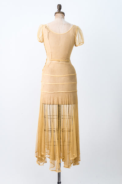 1930s Yellow Dotted Tulle Dress - XS/S