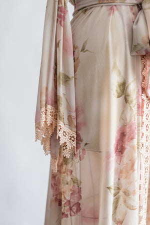 Vintage Floral Chiffon Dressing Gown - One Size