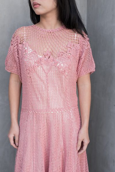 Vintage Pink Macrame Knit Dress - S/M