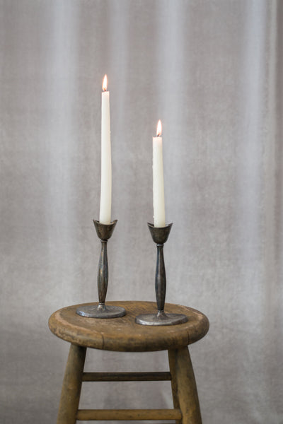 Pair of Tulip Pewter Candlestick Holders