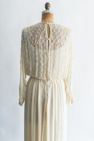 1980s Beige Ivory Deco Inspired Dolman Sleeves Gown - S/M