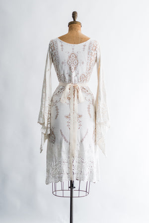 1970s Crochet Angel Sleeves Dress - XS