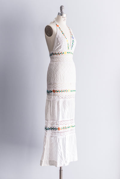 1970s Cotton Embroidered Halter Dress - S