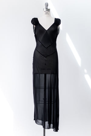 1930s Sheer Black Silk Lace Gown - S