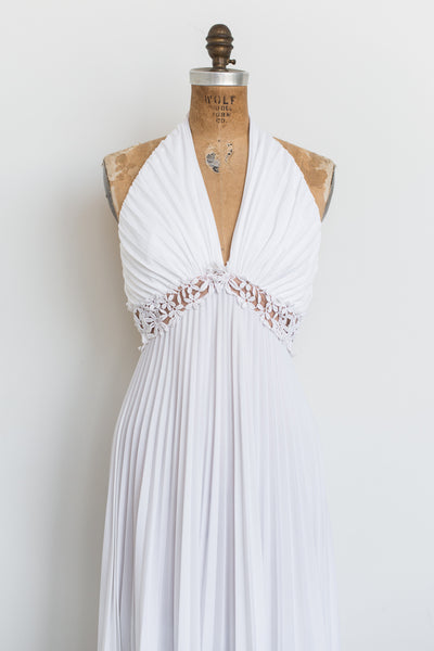 1970 Pleated Halter Dress - S