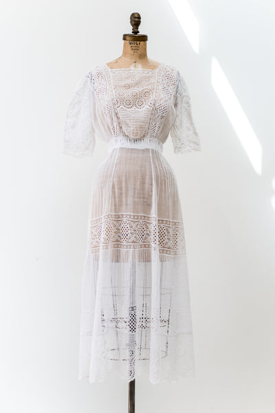 Antique Cotton Muslin Eyelet Dress - S